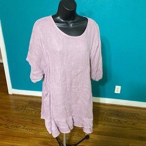 Flax tunic linen size L light Purple